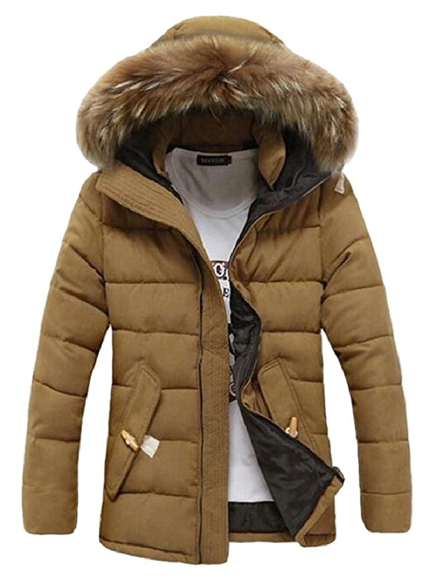 xtsrkbg Men Winter Warm Solid Faux Fur Hooded Padded Parka Outerwear Parka