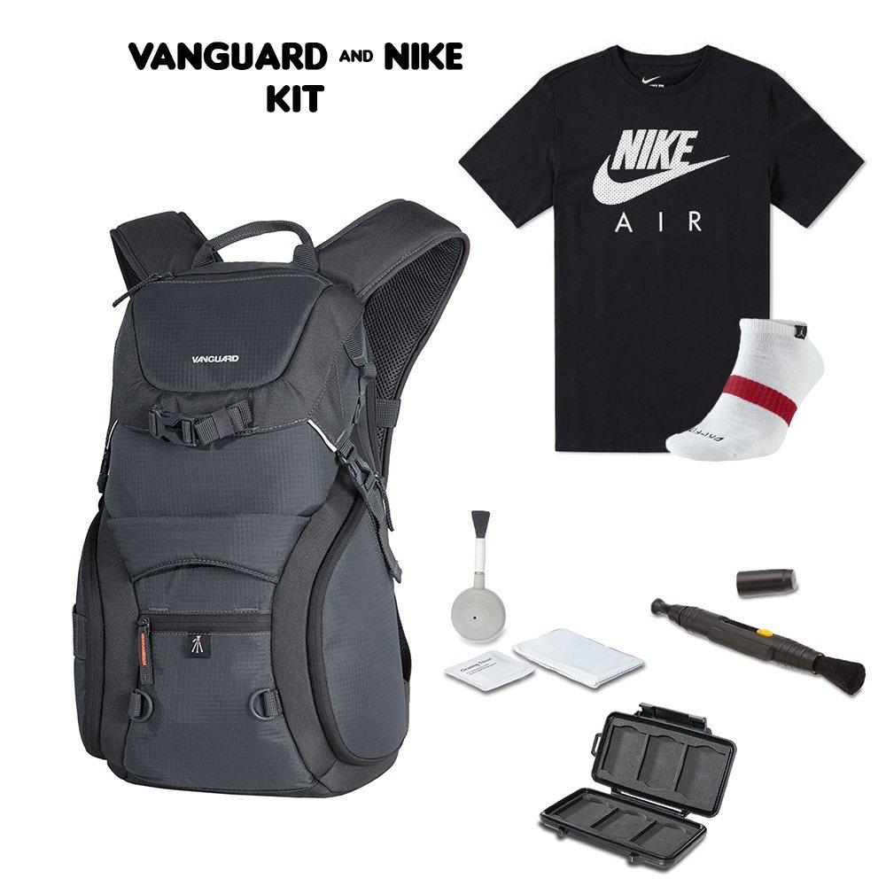 Vanguard ADAPTOR 48 Backpack + Nike Athletic T-Shirt + Nike Athletic Socks +Cleaning Kit 4pc + Lens Pen Cleaning Brush + Memory Card Wallet