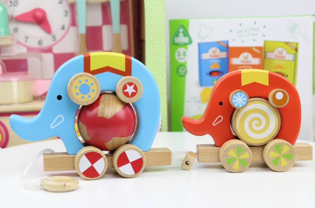Dalino Babys Toys Wooden Children's Educational Toy Circus Two Elephants Drag Cart (Picture Color)