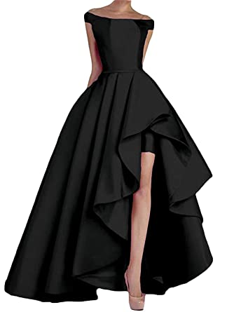 NewFex Women s Off Shoulder Evening Gown High Low Prom 2019 Satin Formal Dress  Black 2 021c27566