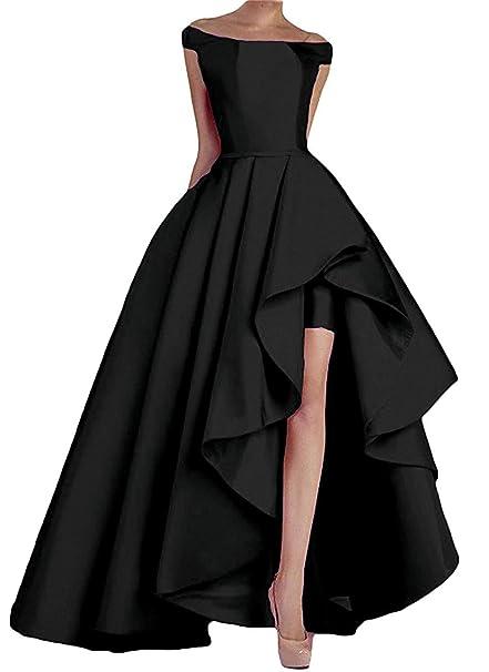 129cbf78f555d NewFex Women's Off Shoulder Evening Gown High Low Prom 2019 Satin Formal  Dress Black 2