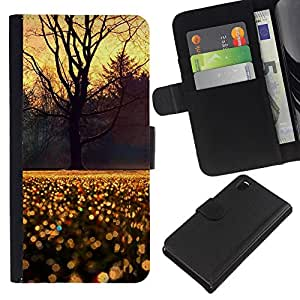 iBinBang / Flip Funda de Cuero Case Cover - Árbol Cielo lluvia de la mañana la salida del sol - Sony Xperia Z3 D6603 / D6633 / D6643 / D6653 / D6616