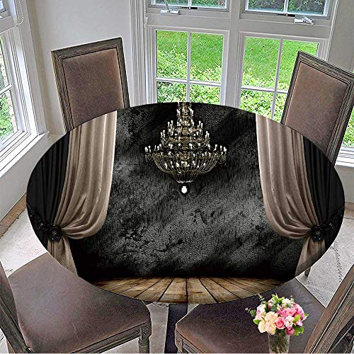 Chandelier Iron Chateau - Mikihome Chateau Easy-Care Cloth Tablecloth Image of Grunge Dark Room Interior with Wood Floor and Chandelier Background for Home, Party, Wedding 59
