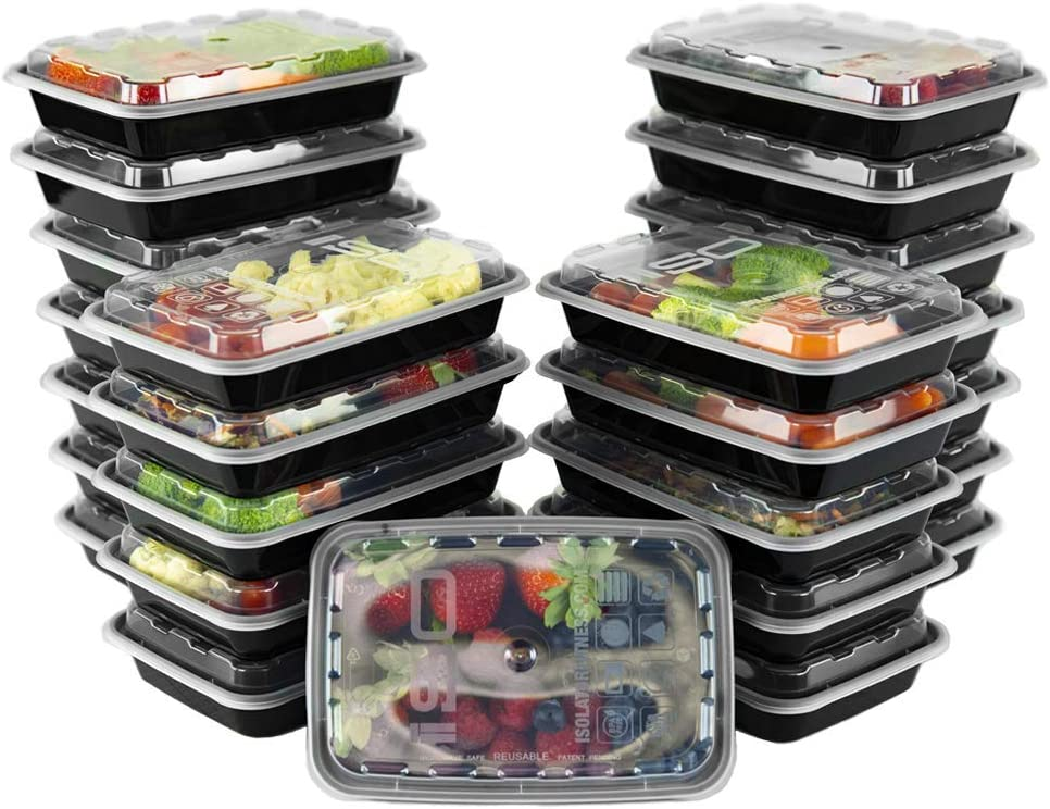 ISO Meal Prep Containers with Lids Certified BPA-Free Stackable Reusable Microwave/Dishwasher/Freezer Safe 12 oz, 25 Count, Black