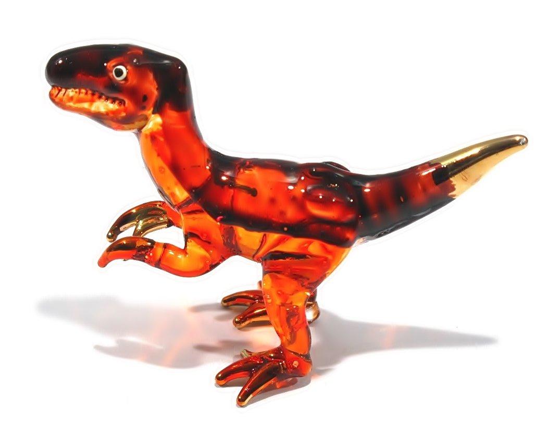 Handmade Mini Tyrannosaurus (T-Rex) Art Glass Blown Jurassic Dinosaur Figurine