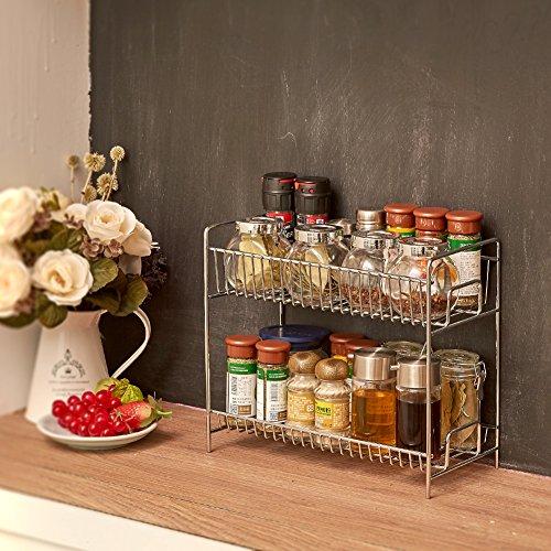 Countertop Spice Organizer : Spice Rack, EZOWare Kitchen Countertop 2-Tier Storage Organizer Spice ...