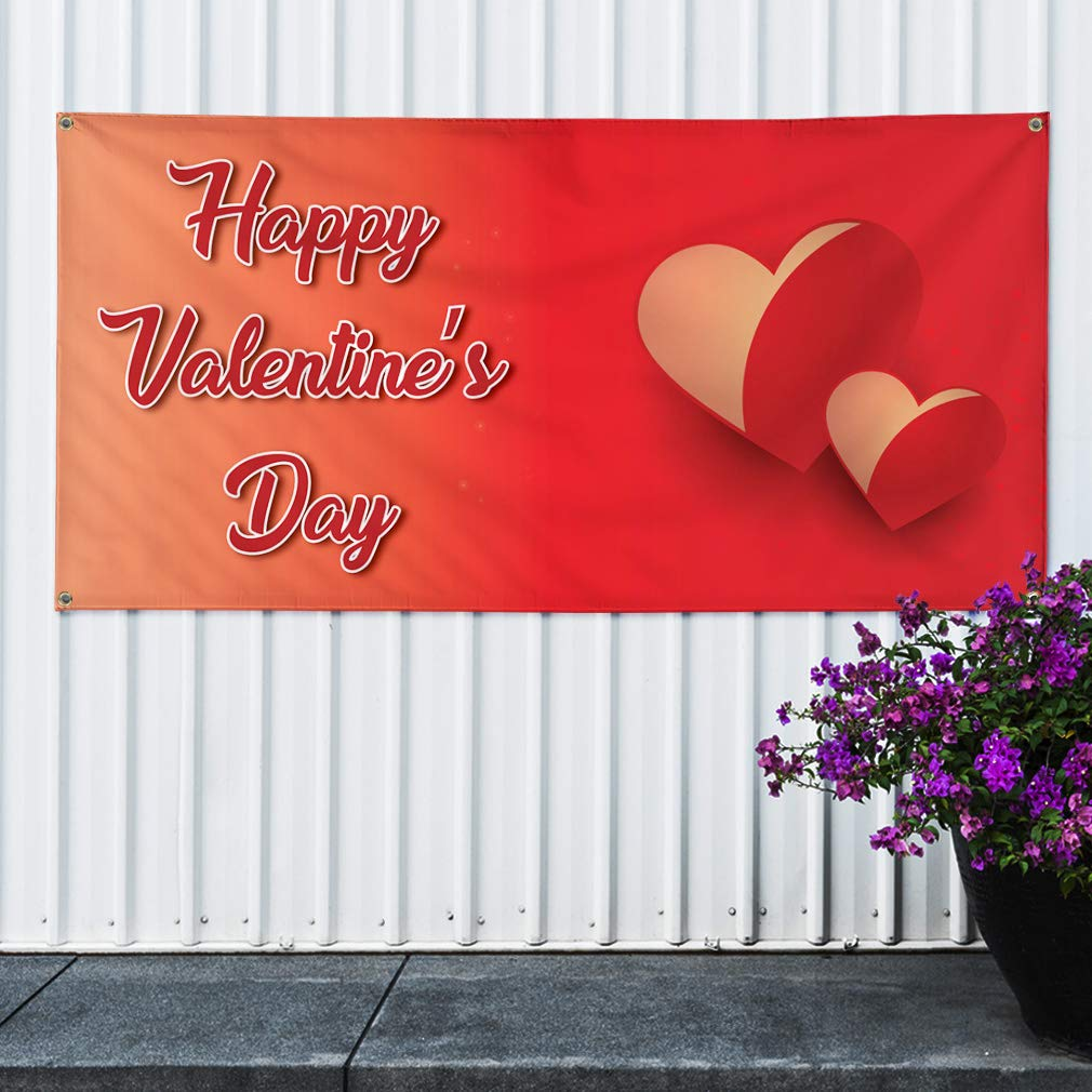#2 Lifestyle Heart Marketing Advertising Red 32inx80in Vinyl Banner Sign Happy Valentines Day 6 Grommets Set of 2 Multiple Sizes Available