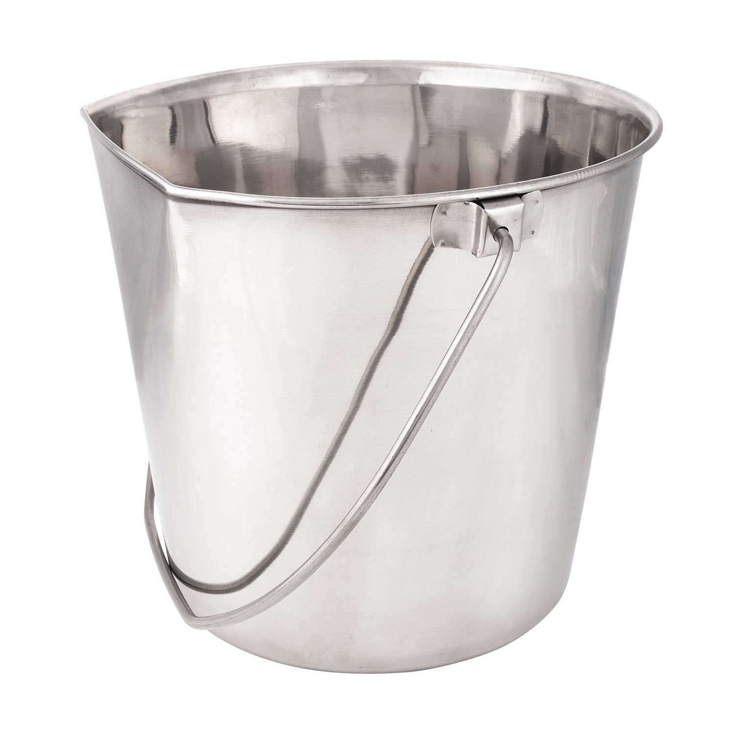 ProSelect Stainless Steel Flat Sided Pails - Durable Pails for Fences, Cages, Crates, or Kennels - 6'', 2-Quart