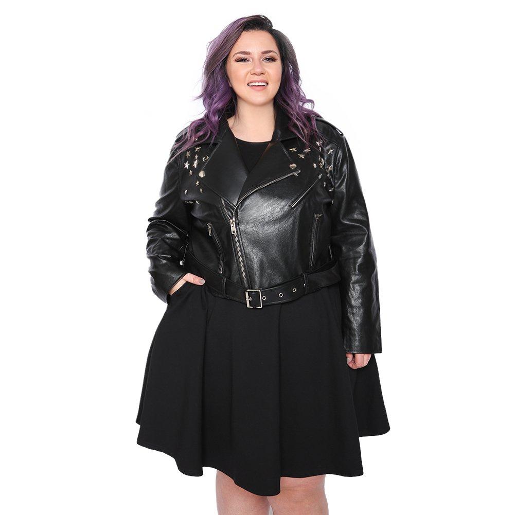 Astra Signature Women's Faux Leather Asymmetrical Zip Moto Biker Jacket Coat