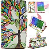 Galaxy Alpha Case, G850F Case,Gift_Source Brand Colorful Tree Tribe - PU Leather Unique Wallet Case Soft TPU Case Cover with Card Slots for Samsung Galaxy Alpha G850F Case,Sent Screen Protector + Stylus Pen