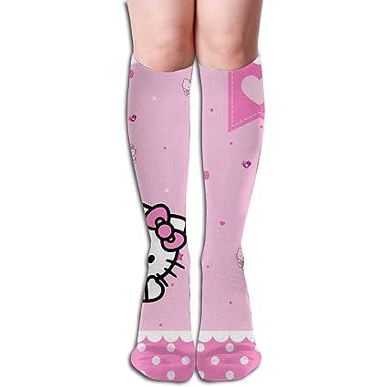 c32446bd5 Amazon.com: JINUNNU Knee High Tube Socks Hello Kitty Pink Rainbow Compression  Socks for Girl Women: Home & Kitchen