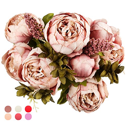 Sunnyglade Vintage Artificial Peony Silk Flowers Bouquet for Home Bridal Wedding Party Festival Decoration (Cameo Brown) -