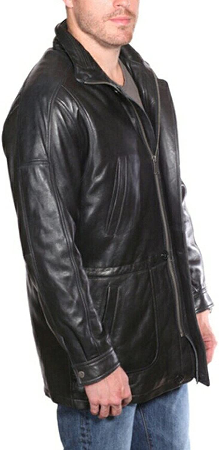 smith-rhyner Mens Genuine Premium Leather Western Style Outwear Black Zipper Style Jacket