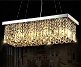 Siljoy Rectangular Crystal Chandelier Lighting Dining Room Pendant Lighting L47″ X W10″ X H10″ For Sale