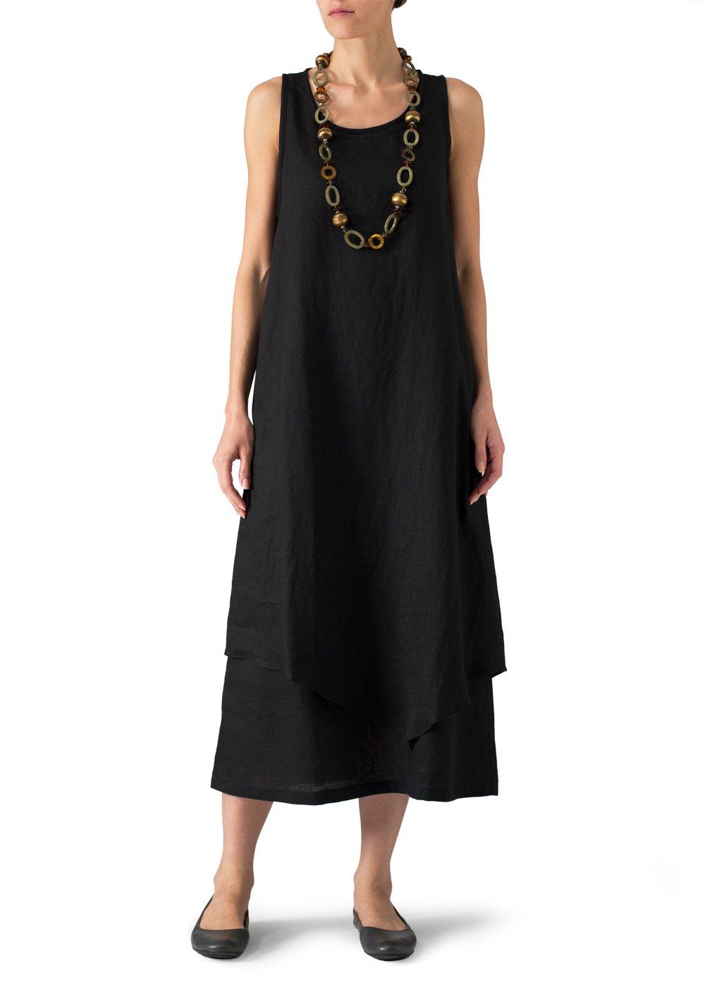 Vivid Linen Double Layered Long Dress-S-Black/Black