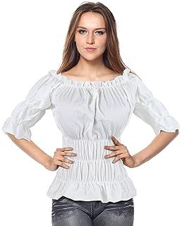 61775d8c86793e Charmian Women s Off Shoulder Short Sleeves Ruffles Blouse Shirt Crop Top