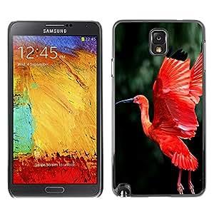 Pájaro Rojo Fuego Verde de vuelo Alas Tropical- Metal de aluminio y de plástico duro Caja del teléfono - Negro - Samsung Note 3 N9000
