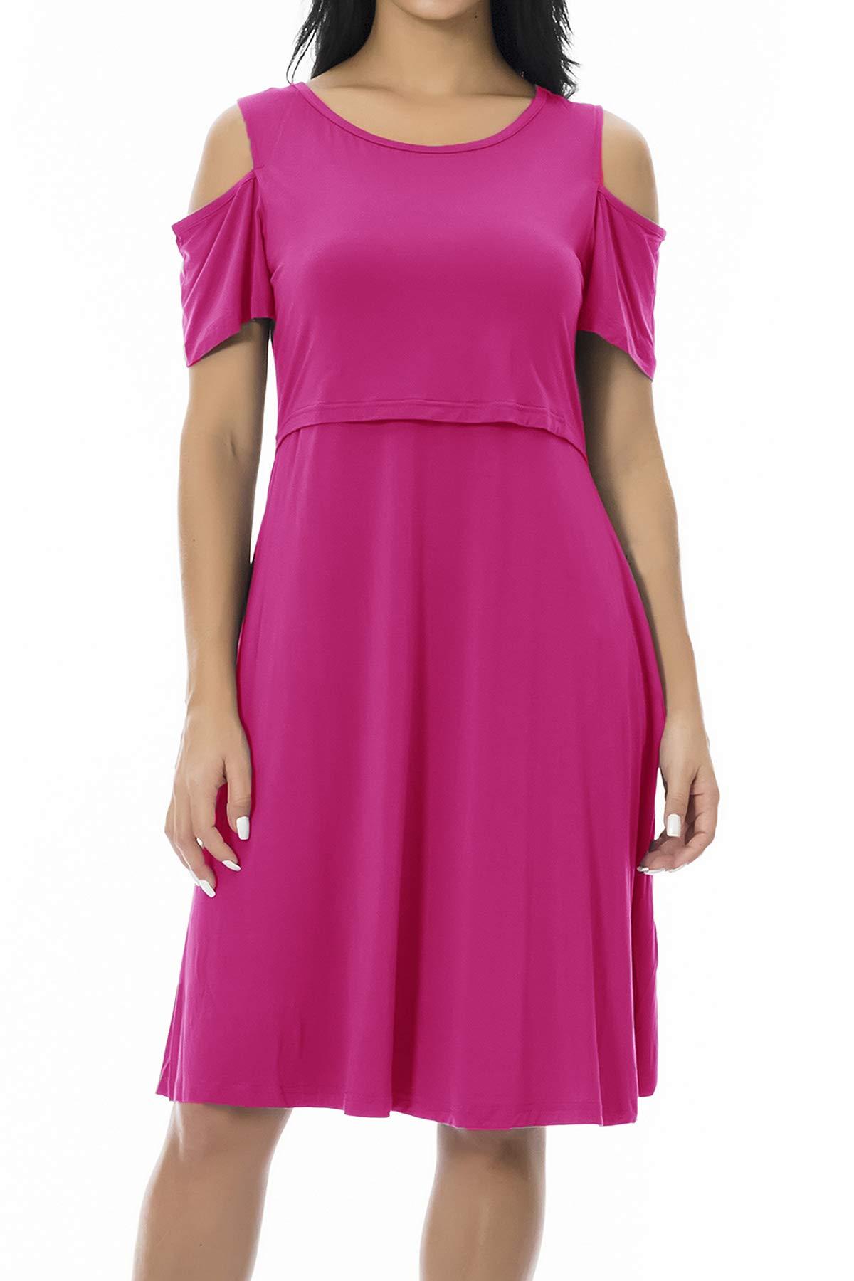 Smallshow Maternity Nursing Breastfeeding Dresses for Women Large Rose Red