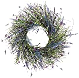 24 Inch Artificial Lavender, Fern, Spring Flowers and Wild Grass Wreath On Twisted Vine Base- Outdoor and Indoor Use