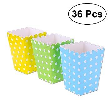 NUOLUX 36pcs popcorn boxes cajas de palomitas de maíz envases del sostenedor cajas de cartón de múltiples colores bolsas de papel: Amazon.es: Juguetes y ...