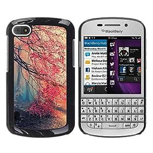Caucho caso de Shell duro de la cubierta de accesorios de protección BY RAYDREAMMM - BlackBerry Q10 - Spring Tree Mist Forest Pink Blossom Cherry