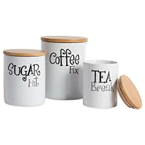 "DII Modern Chic Ceramic Kitchen Canister with Bamboo Lid for Food Storage, Serve Coffee, Sugar, Tea, Spices, Assorted Sizes: 4.5x4.5x5.5, 4x4x4.5"", 3x3x4"", White"