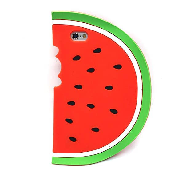 the best attitude 5ca80 15469 Unique iPhone 7 Case, Cute 3D Creative Soft Feeling Silicone Phone Case  Cover for Apple iPhone 7 Watermelon