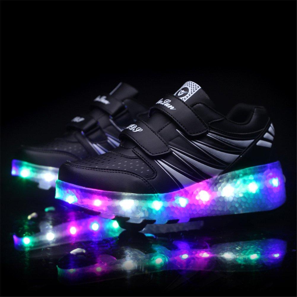 Unisex Enfants LED Clignotante Chaussures /à Skates avec roulettes Doubles Bouton Poussoir Ajustable lnline Patins /à roulettes Course /à Pied Sneakers pour Gar/çons Filles