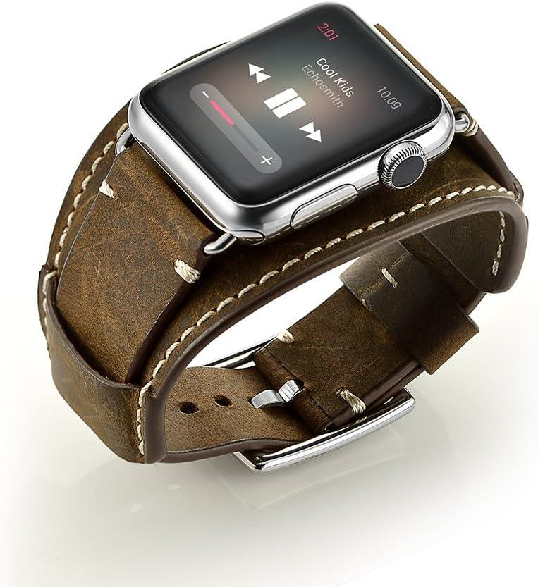 Ayigo Compatible with Apple Watch Band 44mm 42mm,Men Women Classic Genuine Leather Cuff Bracelet Strap Compatible Apple Watch Series 4/3/2/1 iWatch (Crazy Horse Cuff Coffee, 42/44mm)