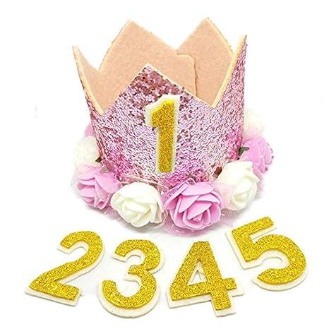 Runfon Corona Número Cumpleaños Gorro Bebé Reutilizable ...