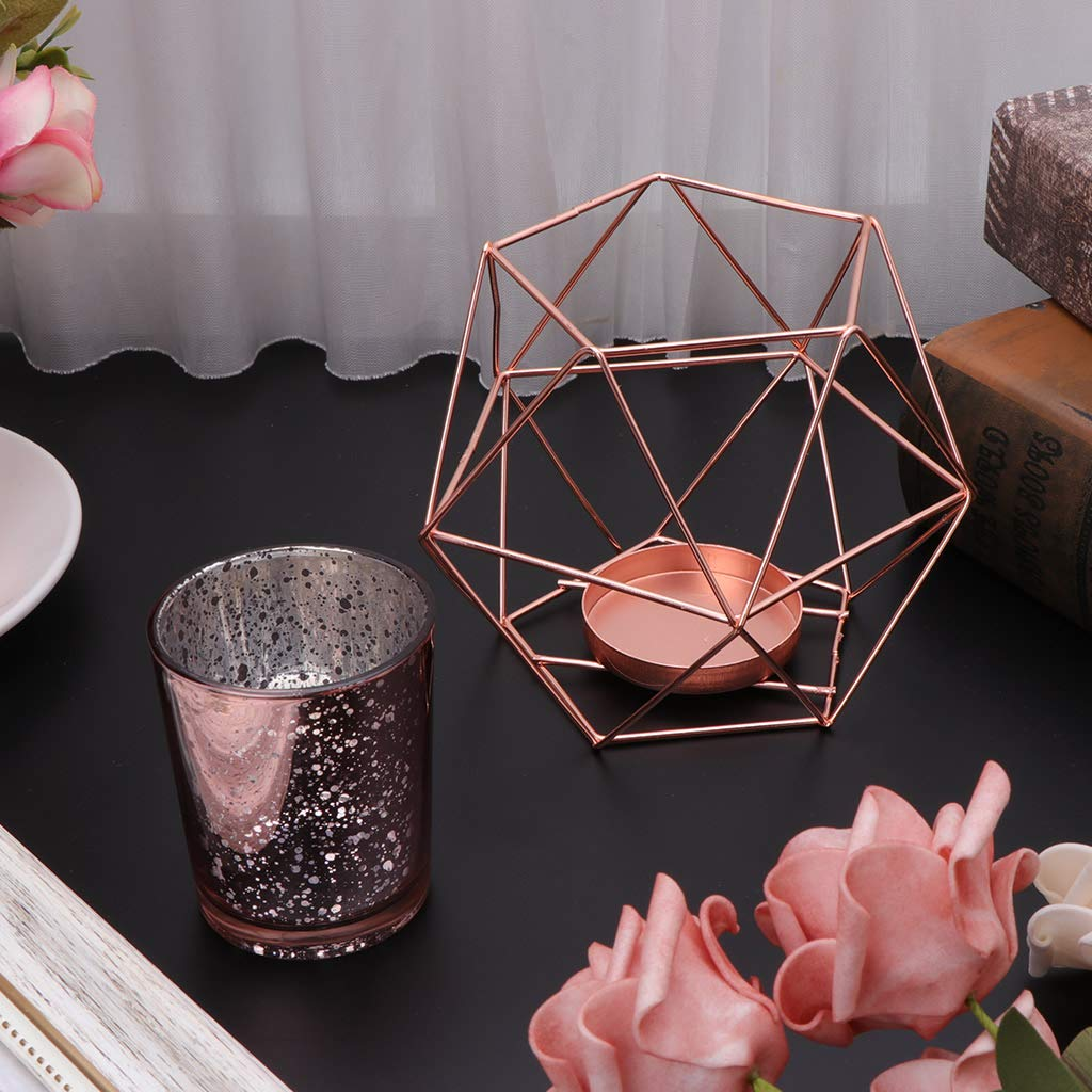 YiFeiCT portacandela Hot Nordic Style 3D Geometrico Metallo candeliere per Natale Wedding Home Decor Gold
