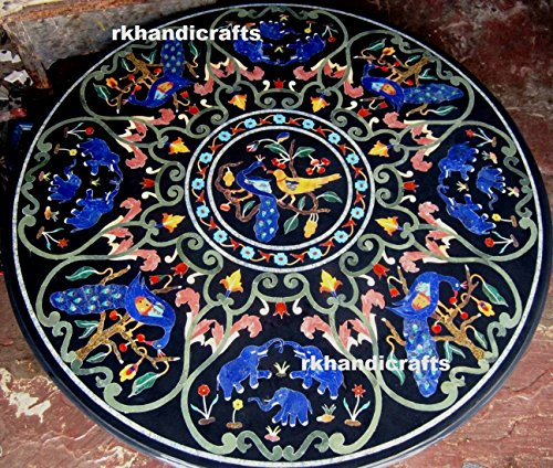 rkhandicrafts Coffee Table Top Multi Color Stones 48'' Round Black Marble Inlay Royal Art