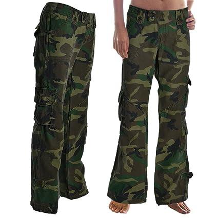 Molecule Himalaya Pantalones de Tiro bajo para Mujeres 45062-100% Algodon, Senoritas Estilo Militar Pantalones Combate