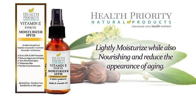 Protector hidratante natural con vitamina E + SPF 30. Protector solar hidratante, diario, no graso, perfecto para la cara y como base de maquillaje.