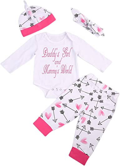 Baby Girl Clothes Set,Changeshopping Long Sleeve Letter Romper Headband Outfits