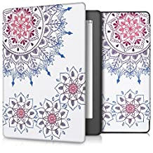 kwmobile Elegant synthetic leather case for the Kobo Aura H2O Edition 2 Design Vintage Flower ring in dark pink blue white