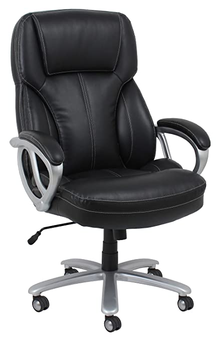 Essentials Big And Tall Leather Executive Chair   High Back Office Chair  With Arms, Black