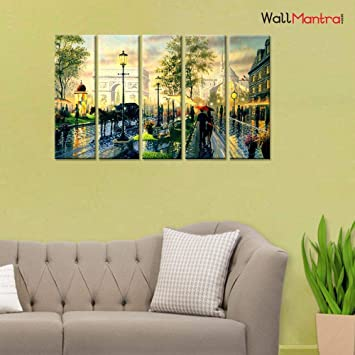Wallmantra City In Rain Romantic Wall Painting 5 Pieces Canvas Print Wall Hanging Stretched And Framed On Wood 44 W X 24 H Home Decor For Living Room Bedroom Office Decoration Amazon In