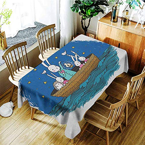 XXANS Washable Tablecloth,Kids,Little Bunnies and Hedgehog Floating in a Boat on The Wavy River Under a Night Sky,Table Cover for Kitchen Dinning Tabletop Decoratio,W54x72L Multicolor]()
