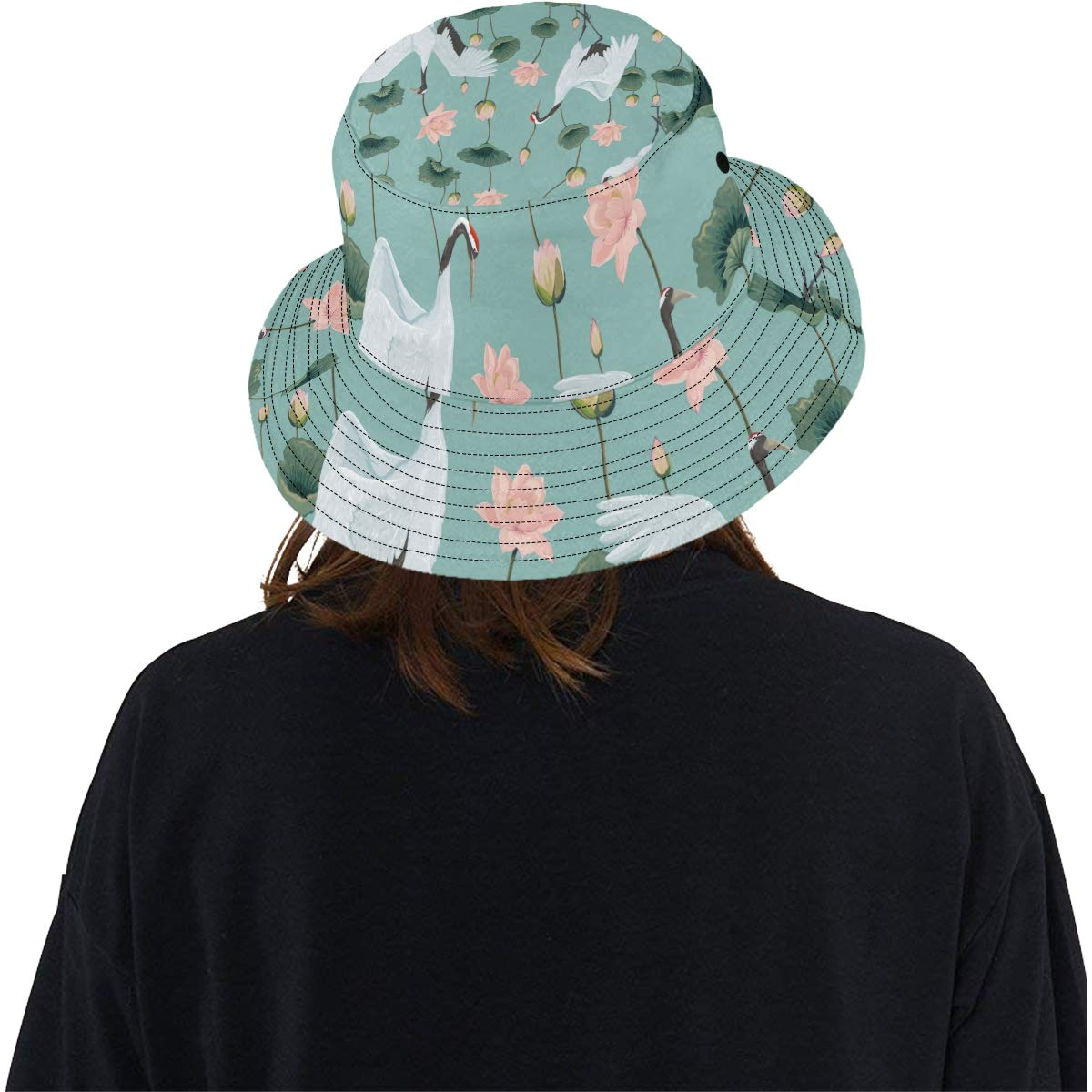 Japanese Style Artistic Cranes New Summer Unisex Cotton Fashion Fishing Sun Bucket Hats for Kid Teens Women and Men with Customize Top Packable Fisherman Cap for Outdoor Travel