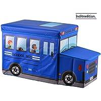 Inditradition Kids School Bus Storage Box, Blue