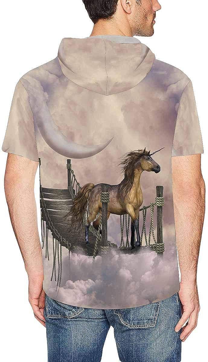 XS-2XL INTERESTPRINT Mens Hoodies Shirts Fantasy Unicorn Drawstring Short Sleeve Tops