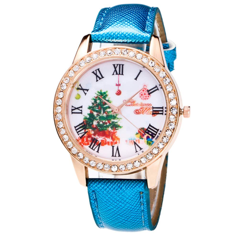 Unisex Jewelry Gift Faux Leather Band Rhinestone Dial Analog Quartz Wristwatch