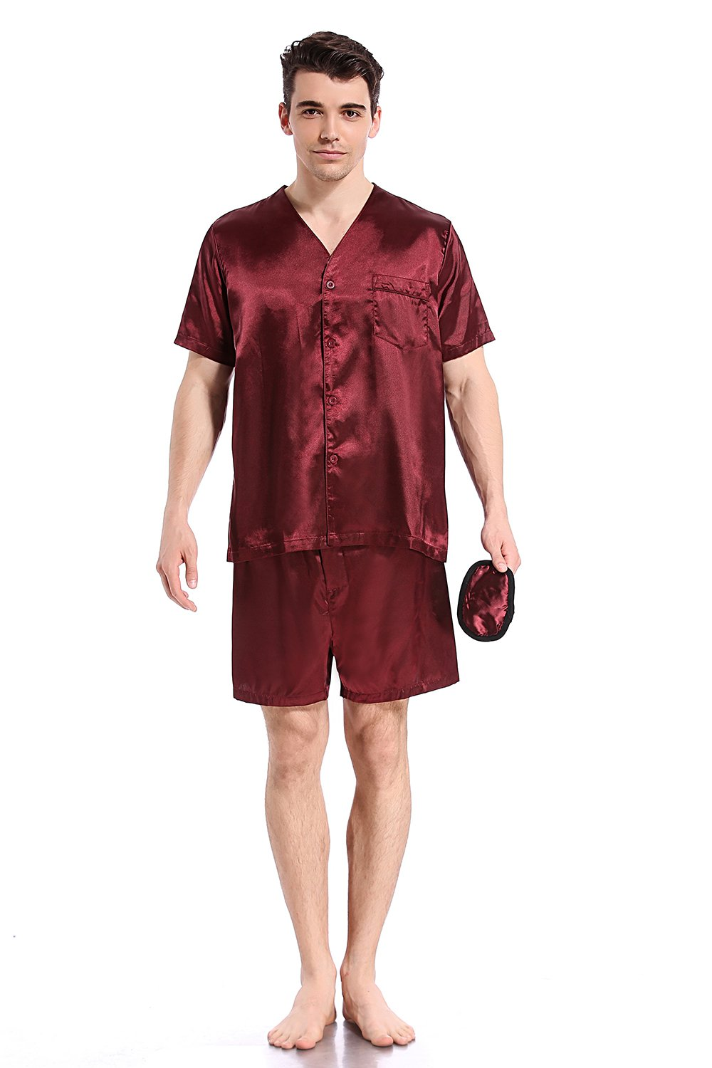 Like2sea Summer Silky Satin Pajamas for Men, Short V-Neck Button Down PJ Set with Mask, WineRed, S