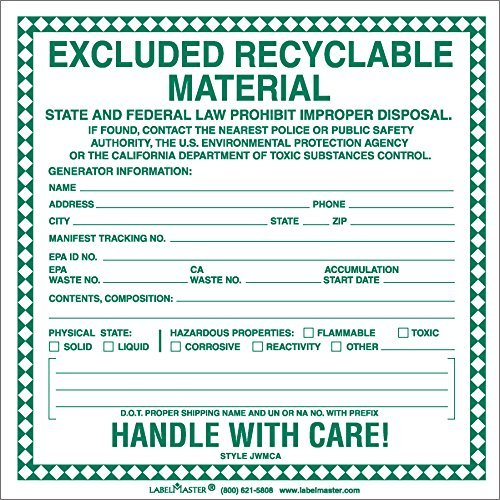 Recyclable Materials (Labelmaster JWMCA Excluded Recyclable Material Label (Pack of 100))
