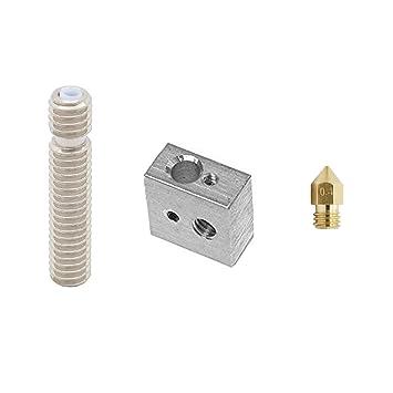MadridGadgetStore® Kit Hotend Bloque Calentador Aluminio + Garganta Conducto Tubo Esparrago 3cm 30mm Teflon PTFE Extrusor MK8 + Boquilla 0.4mm 0.4 mm ...