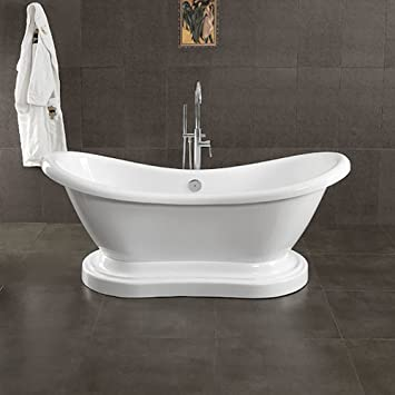 Great 68u0026quot; Acrylic Double Ended Slipper Pedestal Tub With NO Faucet Holes   U0026quot;Pedestal