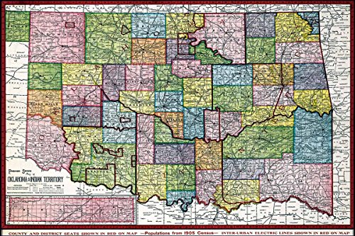 Antiguos Maps - Premier Series Map of Oklahoma & Indian Territory Circa 1905 - Measures 24 in x 36 in (610 mm x 915 mm)