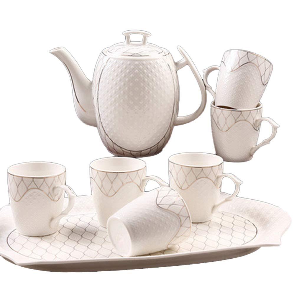 コーヒーカップ コールドケトル、家庭用8ピースティーセットコーヒー紅茶ティーポットリビングルームギフトセット容量:1300ml ティーセット (色 : 白) B07PGJCKFL 白