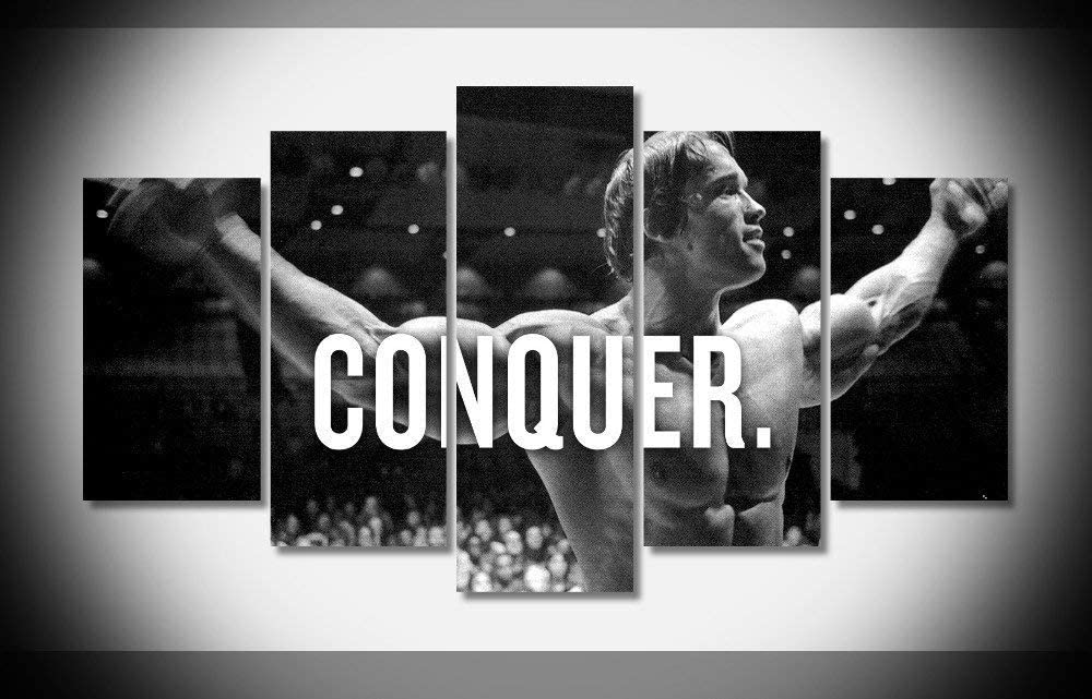 Dionysios Print Framed Canvas Arnold SSchwarzenegger Conquer Bodybuilding 5 Pieces Wall Art Decor Ready to Hang on The Wall with Frame - Size 2